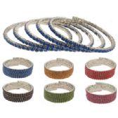 12 Units of Rhinestone Coil Bracelets Assorted Color Stones - Bracelets
