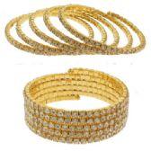 12 Units of Gold Rhinestone Coil Bracelets - Bracelets