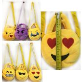 12 Units of Wholesale Kid's Plush Emoji Purse Assorted Styles - Leather Purses and Handbags