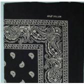 24 Units of Wholesale Bandana Cotton Black Paisley Fabric