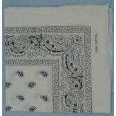 24 Units of Wholesale Bandana Cotton White Paisley Fabric