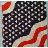 24 Units of Wholesale Bandana Cotton Wavy American Flag Design