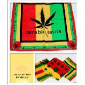 24 Units of Canabis LEAF Printed Assorted Cotton Bandana ( Rasta color)