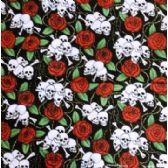 24 Units of Wholesale Bandana Cotton Skull Cross Bone with Rose - Bandanas