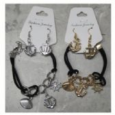 36 Units of Silvertone and Goldtone Bracelets with Anchor Dangle Earrings - Bracelets