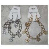 36 Units of Silvertone and Goldtone Bracelets, with Anchor Dangle Earrings - Bracelets