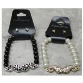 36 Units of Black White, Cream Beaded Bracelets with Crystal Stud Earrings - Bracelets