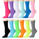 12 Units of Ladies Neon Crew Socks Assorted Colors Size 9-11