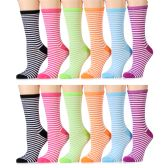 12 Units of Ladies Stripe Crew Socks Assorted Colors Size 9-11