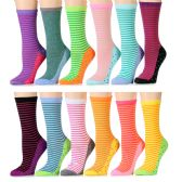 12 Units of Womens Assorted Colors Stripe Crew Socks Size 9-11 Cotton
