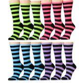 12 Units of Ladies Bold Stripe Crew Socks Size 9-11 , Cotton