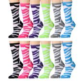 12 Units of Ladies Zebra Print Cotton Crew Socks Size 9-11