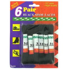 72 Units of Black shoe laces - Footwear Accessories
