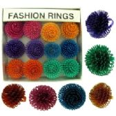36 Units of Silver tone adjustable ring with assorted colored swirled balls - Rings