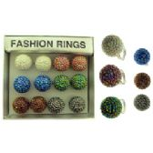 36 Units of Silver tone adjustable ring with assorted colored swirled balls. - Rings
