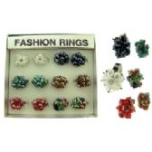 72 Units of Silver-tone adjustable ring with assorted colored dangle accent beads.