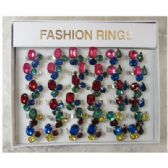 36 Units of Multi-color glass look gemstones ring