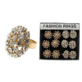 36 Units of gold-tone adjustable ring with oval and sunburst shape design