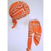 24 Units of Wholesale Skull Caps Motorcycle Hats Fabric Orange Paisley Print - Bandanas