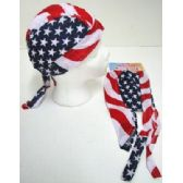 24 Units of Wholesale Skull Caps Motorcycle Hats Fabric American Flag Print