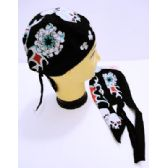 24 Units of Wholesale Skull Caps Motorcycle Hats Fabric Red Eye Skulls Print