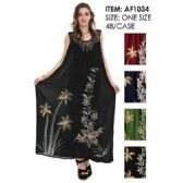 48 Units of Wholesale Long Painted Flower Indian Made Dresses