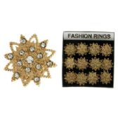 36 Units of Gold-tone adjustable ring with 1 1/2 inch diameter starburst design
