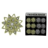 36 Units of Silver-tone and gold-toned adjustable ring with 1 1/2 inch diameter starburst design