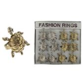 36 Units of Silver tone and gold-tone adjustable ring with turtle design