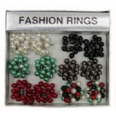 36 Units of Silver-tone adjustable ring with assorted colored dangle accent beads