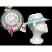 144 Units of Children's Sun Hat With Polka Dot Ribbon