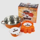 6 Units of Puppot Cooking Set Litho Box Ss Dutch Oven, 2 Silcone Bowls 1 Plastic Base