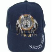 144 Units of Native Wolf Cap - Hats With Sayings