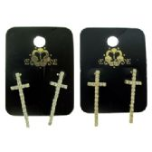 36 Units of Gold tone And Silver tone cross shaped earrings - Earrings
