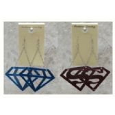 36 Units of Silvertone acrylic dangle earrings with Superman and Diamond - Earrings