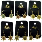 96 Units of French hook style turtle shaped dangle earrings with colored crystal accents