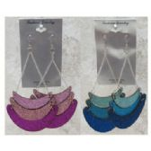 96 Units of Assorted colored wooden dangle earrings in a nested look with three colors