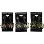 96 Units of Bronze-tone, Silver-tone & Gold-tone ornate wired patterned earrings with flower shaped design