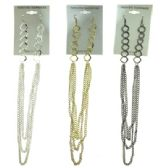 96 Units of Rhodium, Gold-tone & Silver-tone french hook style dangle earrings