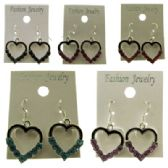 96 Units of Silver-tone French hook assorted colored heart earrings with crystal accent beads