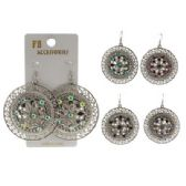96 Units of Silver-tone French hook dangle earring in a disc shape with ornate flowers