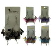 96 Units of Silver and Gold-tone French hook dangle earrings with assorted colored acrylic ball accents