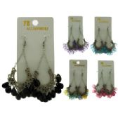 96 Units of Silver-tone French hook earring; embossed design and assorted colored acrylic dangles