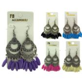 96 Units of French hook earring; embossed design with assorted colored accent acrylic dangles