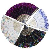 120 Units of FANCY SEQUINED CLOTH FOLDING HAND FANS