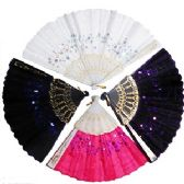 120 Units of SEQUINED CLOTH FOLDING HAND FANS