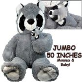 2 Units of JUMBO PLUSH CUDDLE RACCOONS W/ CUB - Plush Toys