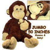 2 Units of JUMBO PLUSH CUDDLE MONKEYS W/ BABY - Plush Toys