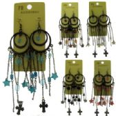 36 Units of Antique gold tone French hook earring with round shaped and assorted colored acrylic accents - Earrings