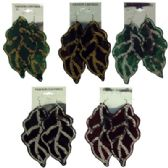 36 Units of Assorted colored fabric shaped leaves with sequin accents - Earrings